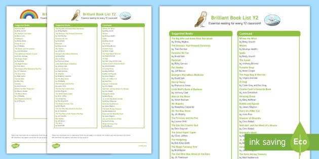 Brilliant Book List Y2 Checklist