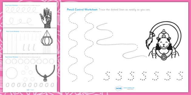 Fine Motor Control Worksheets : Diwali pencil formation worksheet control