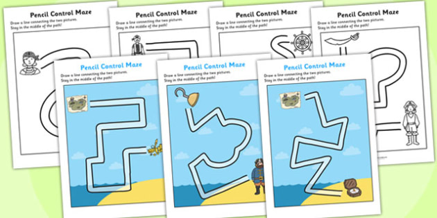 Pirate Themed Pencil Control Maze Worksheets - pirate, theme, pencil, control, pencil control, maze, worksheet, pencil maze, pirate maze, control worksheet