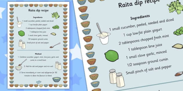 Raita Recipe - raita, recipe, sheet, cooking, dip, dippers, food