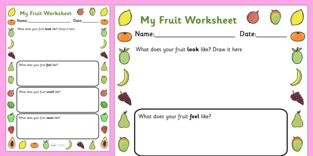 Fruits Description Worksheet - fruit, fruit worksheet, fruit adjectives, fruits I like worksheet, fruit description worksheet, healthy eating