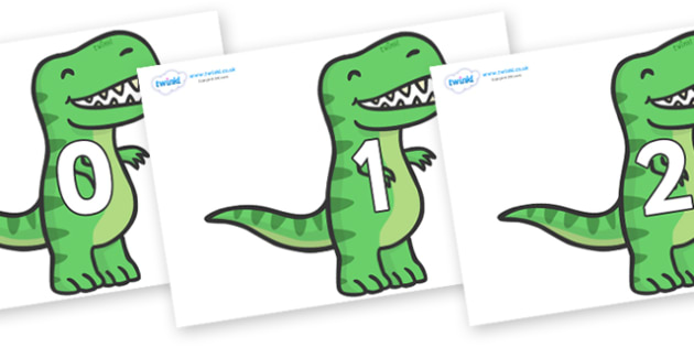 Numbers 0-50 on T Rex Dinosaurs - 0-50, foundation stage numeracy, Number recognition, Number flashcards, counting, number frieze, Display numbers, number posters