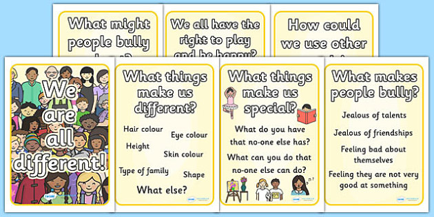 We Are All Different Display Poster - we are all different, poster, bullying, diversity, discrimination, behaviour, display poster, acceptance, differences