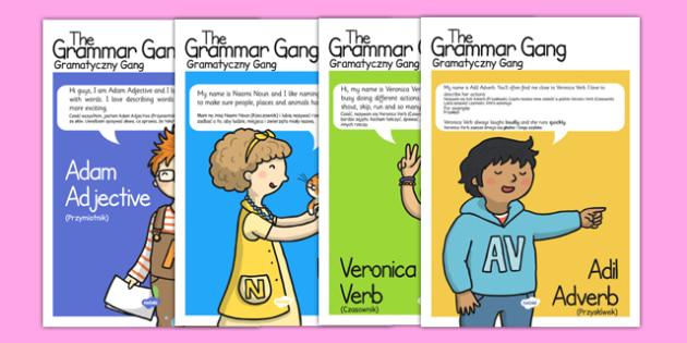 Grammar Gang Character Display Posters Polish Translation - polish, grammar game, character, display