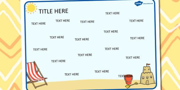 Seaside Themed Editable Word Mat - seaside, editable, word mat