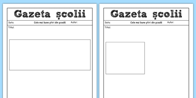 Gazeta școlii - Pagină de scris
