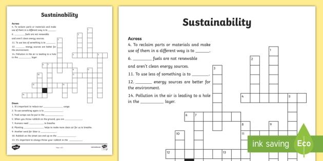 Sustainability Crossword - sustainability, reduce, reuse, recycle, garbage, waste, crossword, puzzle,Australia