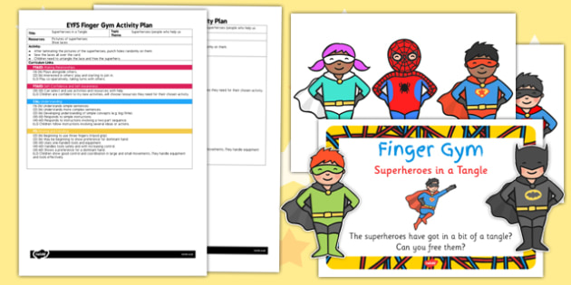 EYFS Superheroes In A Tangle Finger Gym Plan and Prompt Card Pack - pd, fine motor skills, early years, KS1, Key stage 1, SEN