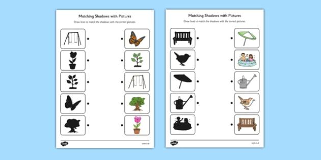 Garden Shadow Matching Worksheet - garden, shadow, matching, worksheet, back garden, outside