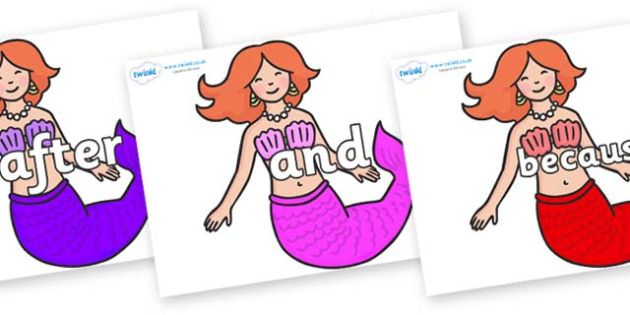 Connectives on Mermaids - Connectives, VCOP, connective resources, connectives display words, connective displays