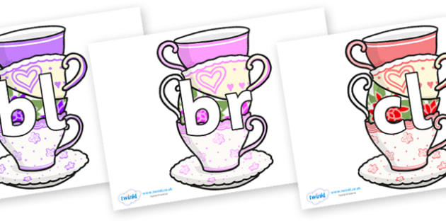 Initial Letter Blends on Teacups - Initial Letters, initial letter, letter blend, letter blends, consonant, consonants, digraph, trigraph, literacy, alphabet, letters, foundation stage literacy