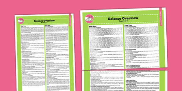 Australian Curriculum Year 5-6 Overview Science - overview, 5, 6