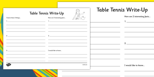 The Olympics Table Tennis Write Up Worksheet - the olympics, rio olympics, rio 2016, 2016 olympics, table tennis, write up
