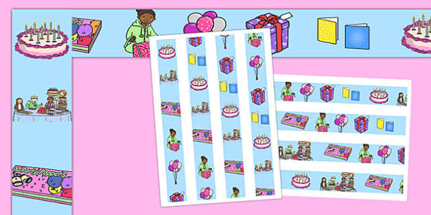 Birthday Display Borders - Display border, classroom border, border, birthday, birthday party, party hat, party invitation, invitations, party food, cake, balloons, happy birthday, birthday role play