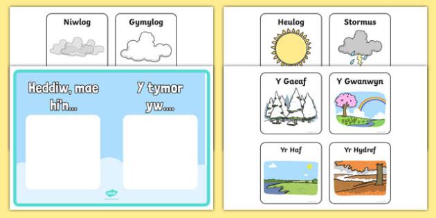 Poster Arddangosfa Y Tywydd a r Tymhorau - welsh, cymraeg, poster, arddangos, tywydd, tymhorau