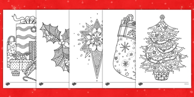 Adult Colouring Christmas Themed Mindfulness Colouring Sheets - colouring, pd, fine motor skills, well being, stress, relax, unwind, early years, ks1, ks2, art, home learning, display, christmas, festive, holidays, present, adult colouring