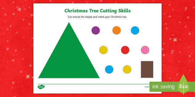 Christmas Tree Scissor Skills Activity - Christmas, Nativity, Jesus, xmas, Xmas, Father Christmas, Santa, St Nic, Saint Nicholas, traditions,