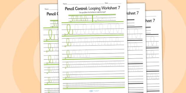 Pencil Control Looping Worksheet 7 - pencil control, looping