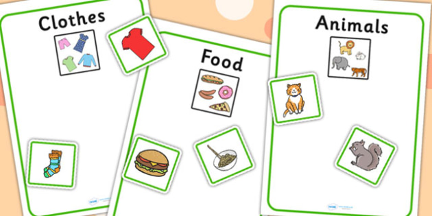 Animal, Clothes And Food Sorting Activity - sort, matching, games
