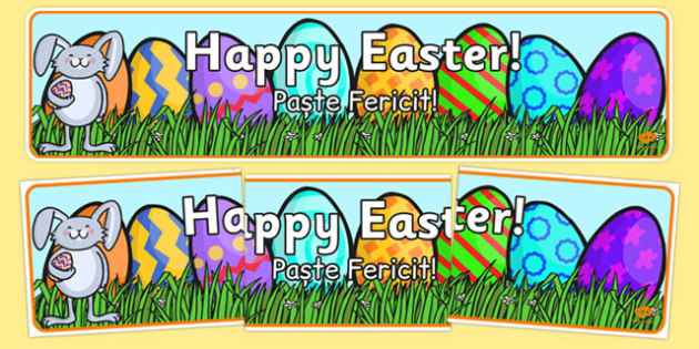 Easter Banner Romanian Translation - romanian, Easter Topic, Easter Banner, Happy Easter Banner, Easter Topic, Foundation, KS1, Easter, Easter resource, Easter teaching resource, Easter Display, Easter, bible, egg, Jesus, cross, Easter Sunday, bunny,