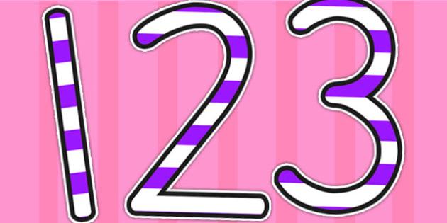 Stripey Purple Display Numbers - numbers, display numbers, number