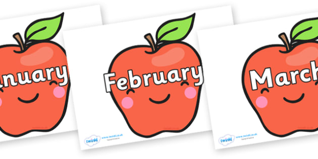 Months of the Year on Cute Smiley Apple - Months of the Year, Months poster, Months display, display, poster, frieze, Months, month, January, February, March, April, May, June, July, August, September