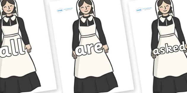 Tricky Words on Florence Nightingale - Tricky words, DfES Letters and Sounds, Letters and sounds, display, words