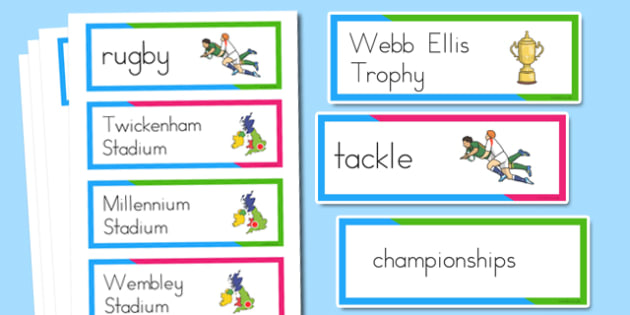 Rugby World Cup Vocabulary Cards - australia, rugby, world cup