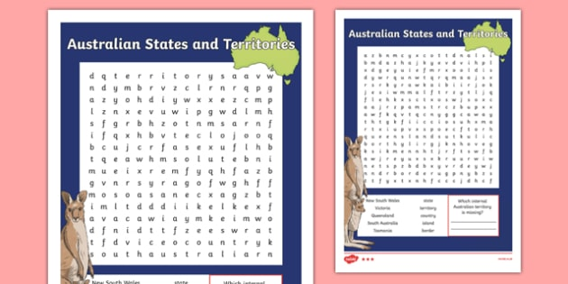Australian States and Territories Vocabulary Word Search - australia, states, territories, vocabulary, word search