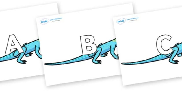 A-Z Alphabet on Lizards - A-Z, A4, display, Alphabet frieze, Display letters, Letter posters, A-Z letters, Alphabet flashcards