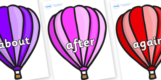 KS1 Keywords on Hot Air Balloons (Stripes) - KS1, CLL, Communication language and literacy, Display, Key words, high frequency words, foundation stage literacy, DfES Letters and Sounds, Letters and Sounds, spelling