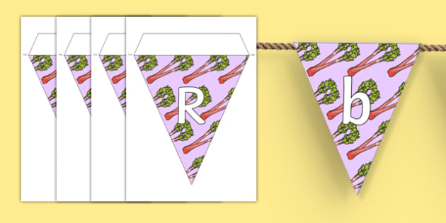 Rhubarb Display Bunting - vegetable patch, grow, growing, plant, british, ks1, ks2, garden, outside,