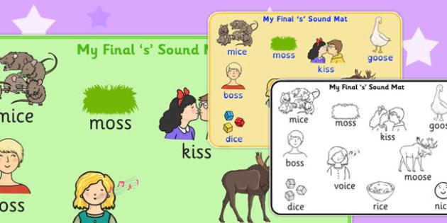 Final 'S' Sound Word Mat 2 - final s, sound, word mat, word, mat