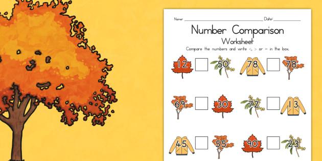 Autumn Number Comparison Worksheet - seasons, numeracy, maths
