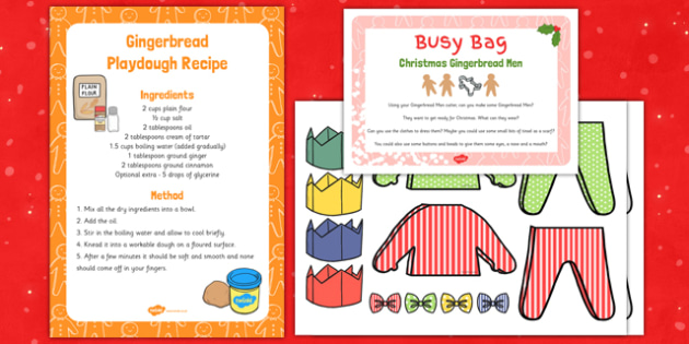 Christmas Gingerbread Man Playdough Busy Bag - Gingerbread, Christmas, EYFS