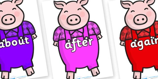 KS1 Keywords on Pigs - KS1, CLL, Communication language and literacy, Display, Key words, high frequency words, foundation stage literacy, DfES Letters and Sounds, Letters and Sounds, spelling