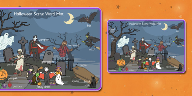 Halloween Scene Word Mat - visual aid, key words, halloween