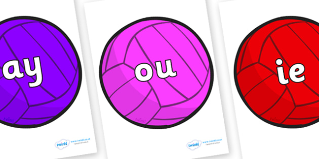 Phase 5 Phonemes on Water Polo Balls - Phonemes, phoneme, Phase 5, Phase five, Foundation, Literacy, Letters and Sounds, DfES, display