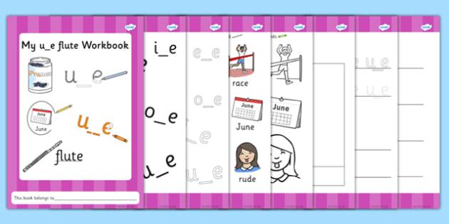 Phase 5 u_e Flute Grapheme Workbook - phase five, graphemes