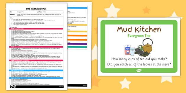 Evergreen Tea EYFS Mud Kitchen Plan and Prompt Card Pack - mud kitchen