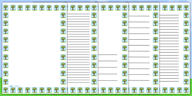 Summer Tree Portrait Page Borders- Portrait Page Borders - Page border, border, writing template, writing aid, writing frame, a4 border, template, templates, landscape