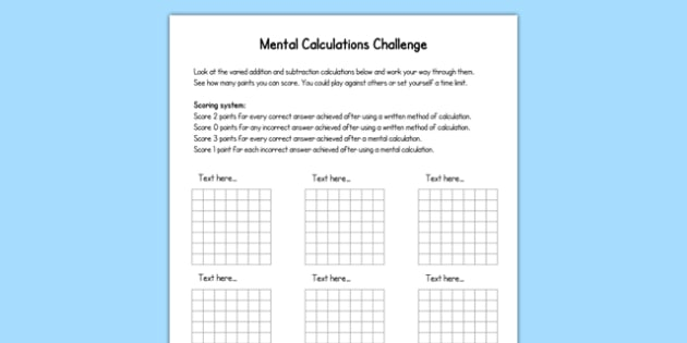 Mental Calculations Challenge Editable Template - mental calculations, challenge, editable, template