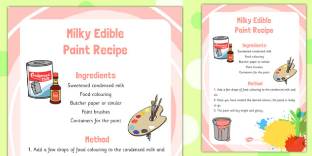 Milky Edible Paint Recipe -art, design, technology, food, early years, KS1