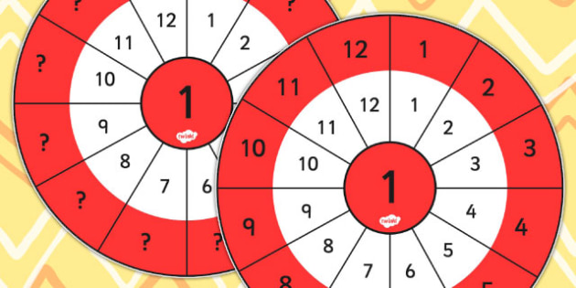 1 Times Table Wheel Cut Outs - visual aid, maths, numeracy
