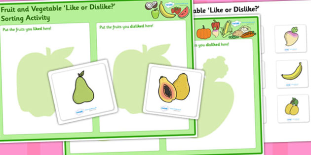 Fruit and Vegetable Like or Dislike Sorting Activity - fruit and vegetables, fruit, vegetables, fruit and vegetables sorting activity, fruit sorting