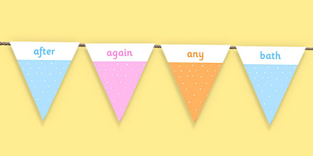 Year 2 Common Exception Words Bunting - year 2, ks1, spelling, spellings, words, grammar, exception, tricky, words, curriculum, 2014, display