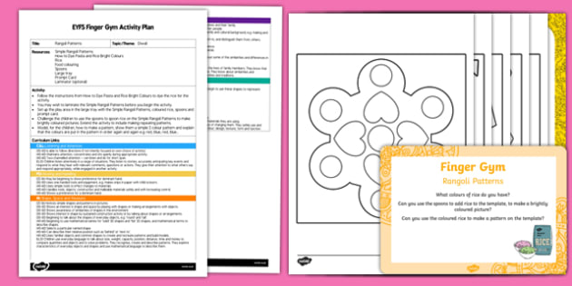 EYFS Rangoli Patterns Finger Gym Plan and Resource Pack