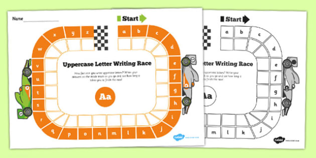 Uppercase Letter Writing Race Worksheet - writing, race, letters