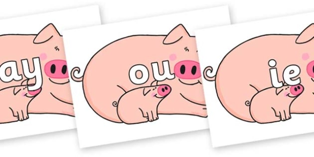 Phase 5 Phonemes on Hullabaloo Pigs to Support Teaching on Farmyard Hullabaloo - Phonemes, phoneme, Phase 5, Phase five, Foundation, Literacy, Letters and Sounds, DfES, display