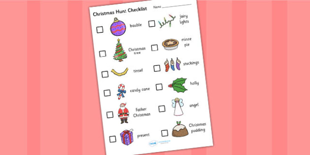 Christmas Hunt Checklist - chritsms hunt, checklist, christmas checklist, christmas list, christmas themed checklist, christmas themed hunt list